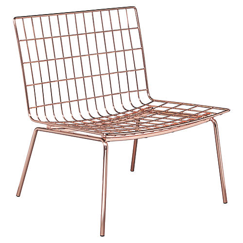 Mesh-Link Outdoor Lounge Chair, Copper