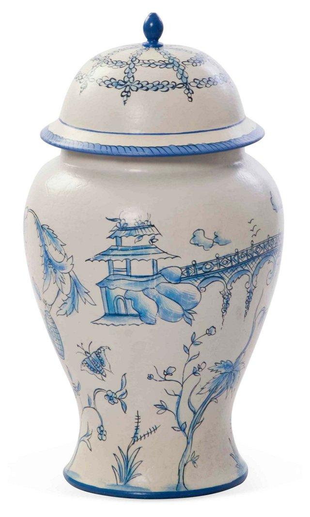 "11"" Toile Jar, Blue/White"