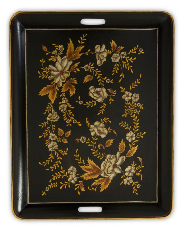 "23"" Iron Tray w/ Handles, Black Floral"