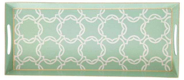 "18"" Iron Tray, Mint Quatrefoil"