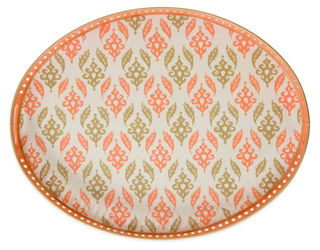 "19"" Oval Iron Tray, Coral Suzani"