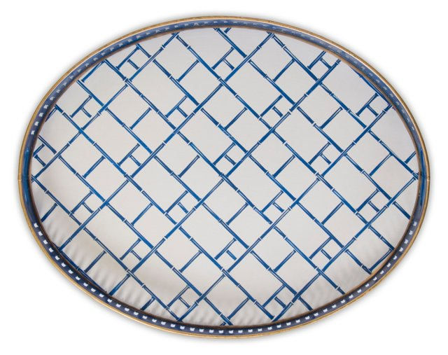 "19"" Oval Iron Tray, Royal Bamboo"