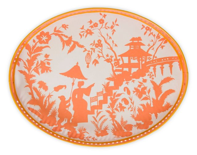 """19"""" Oval Iron Tray, Coral Toile"""