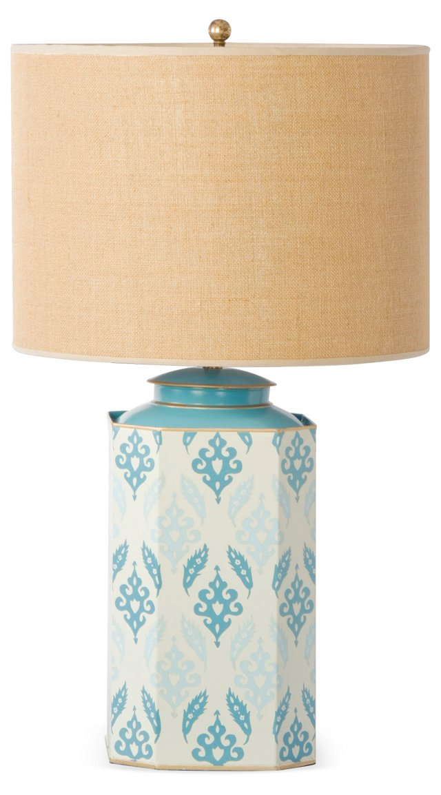 Octo Tea-Can Table Lamp, Teal Suzani