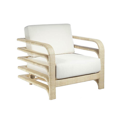 Stella Rattan Lounge Chair, Natural