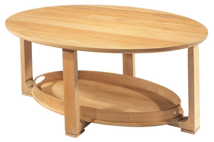 "Noble 39"" Outdoor Teak Tray Coffee Table"