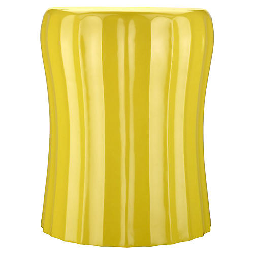 "Mila 14"" Fluted Garden Stool, Yellow"