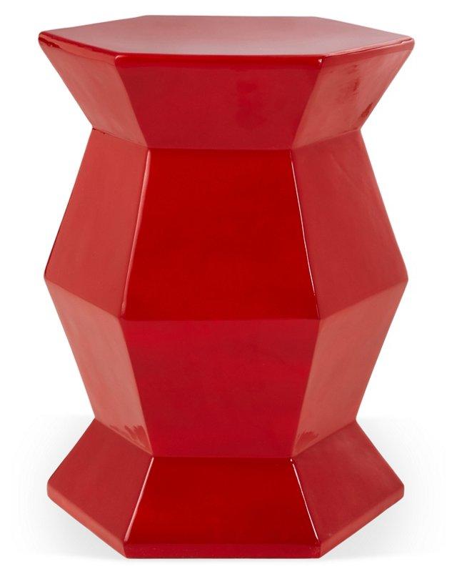 Mila Hexagonal Garden Stool, Red