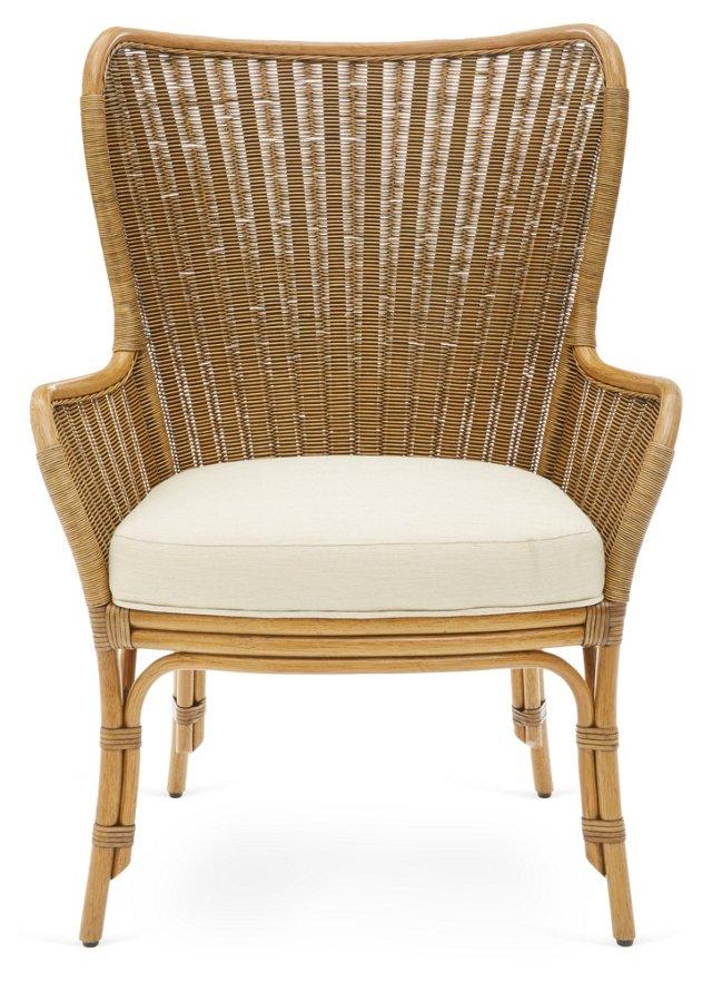 Lara Rattan Wing Chair, Nutmeg