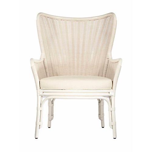 Lara Wingback Chair, White