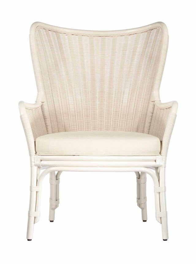 Lara Rattan Wing Chair, White