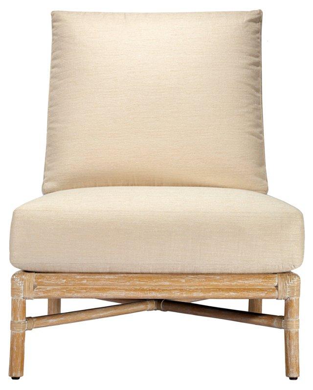 Olympia Rattan Slipper Chair, Meringue