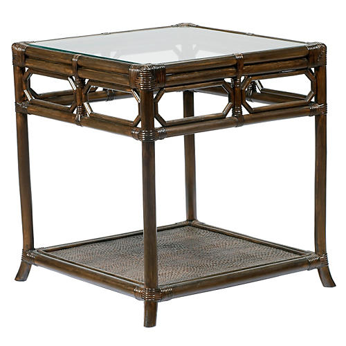 "Eloise 20"" Rattan Side Table, Clove"