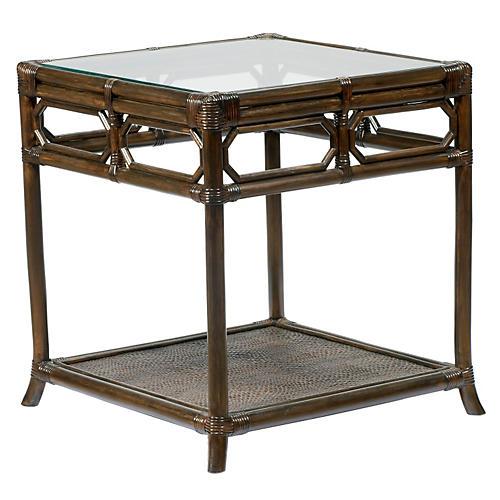 """Eloise 20"""" Rattan Side Table, Clove"""