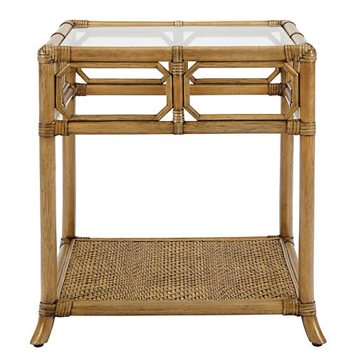 "Eloise 20"" Rattan Side Table, Nutmeg"