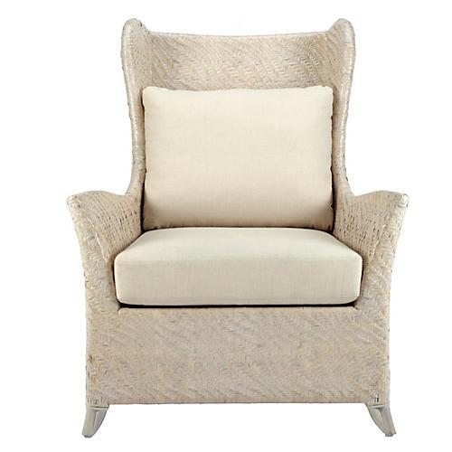 Vivienne Rattan Bergére Chair, Ivory