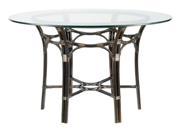 "Clementina 48"" Round Rattan Dining Table, Clove"
