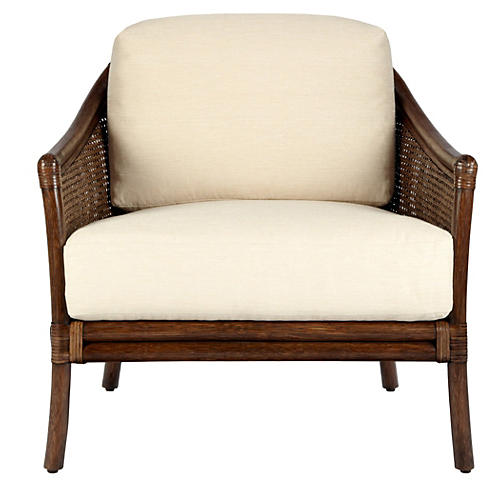 Imogen Rattan Lounge Chair, Ivory