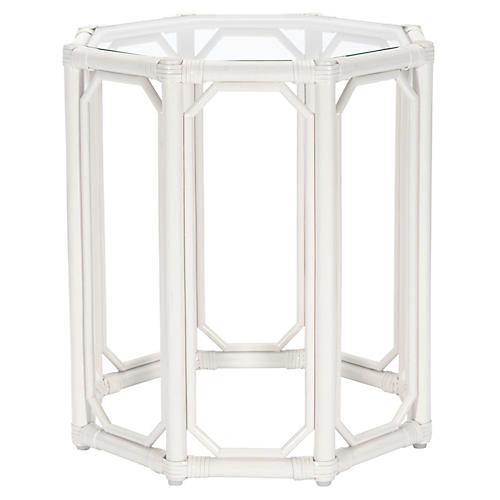 Short Eloise Octagonal Side Table, White