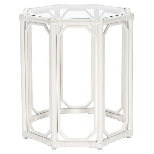 Short Eloise Octagonal Side Table, White