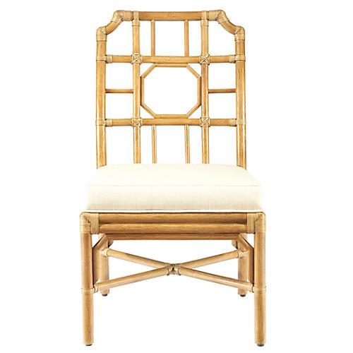 Eloise Rattan Side Chair, Nutmeg/Ivory