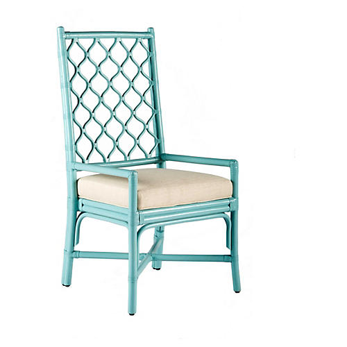 Harper Rattan Armchair, Light Blue/Ivory