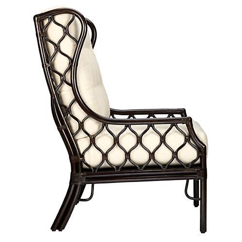Harper Wingback Chair, Ivory