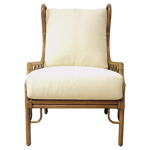 Harper Wingback Chair, Nutmeg/Ivory
