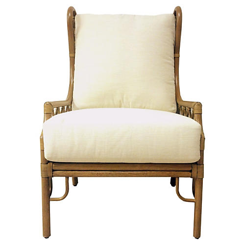 Harper Wingback Chair, Nutmeg/Ivory