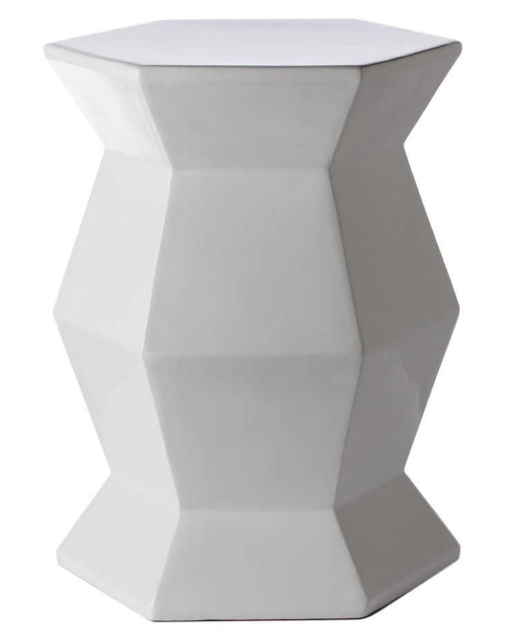 Mila Hexagonal Garden Stool, White