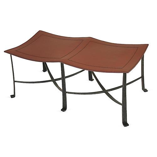 "Bettina 45"" Leather Bench, Black/Copper"