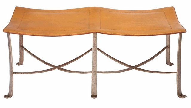 "Bettina 45"" Leather Bench, Silver/Ochre"