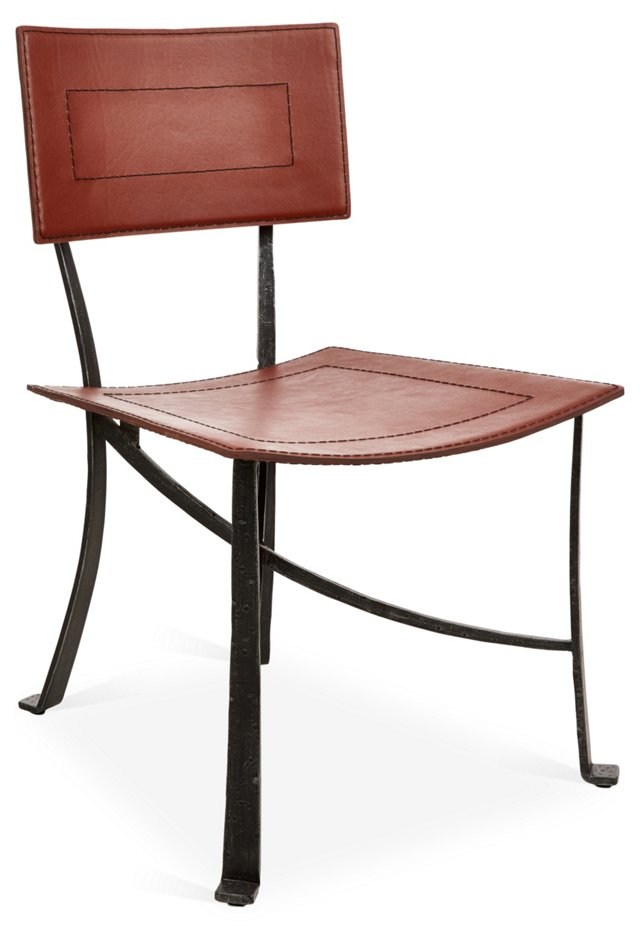 Bettina Leather Dining Chair, Copper
