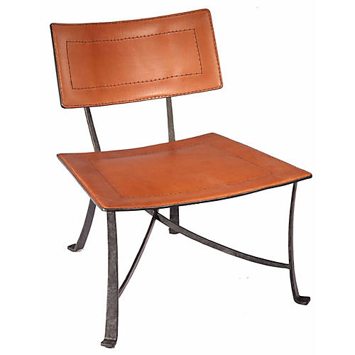 Bettina Leather Lounge Chair, Copper