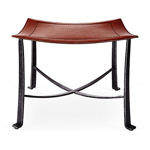 Bettina Leather Stool, Black/Copper