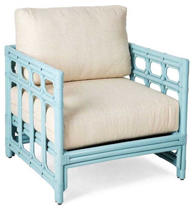 Eloise Rattan Lounge Chair, Aqua/Ivory