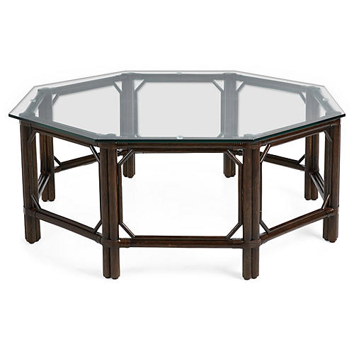 "Eloise 43"" Octagon Coffee Table, Clove"