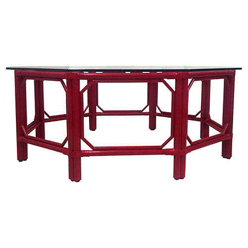 """Eloise 43"""" Octagon Coffee Table, Red"""