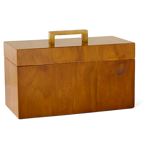 Captain's Rectangle Box, Varnished Teak