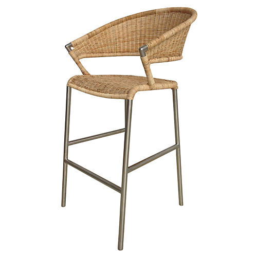 Supper Rattan Barstool, Natural