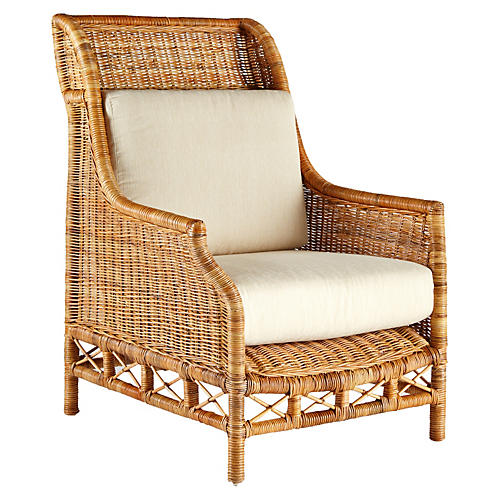 Eliza Rattan Wing Chair, Natural/Ivory