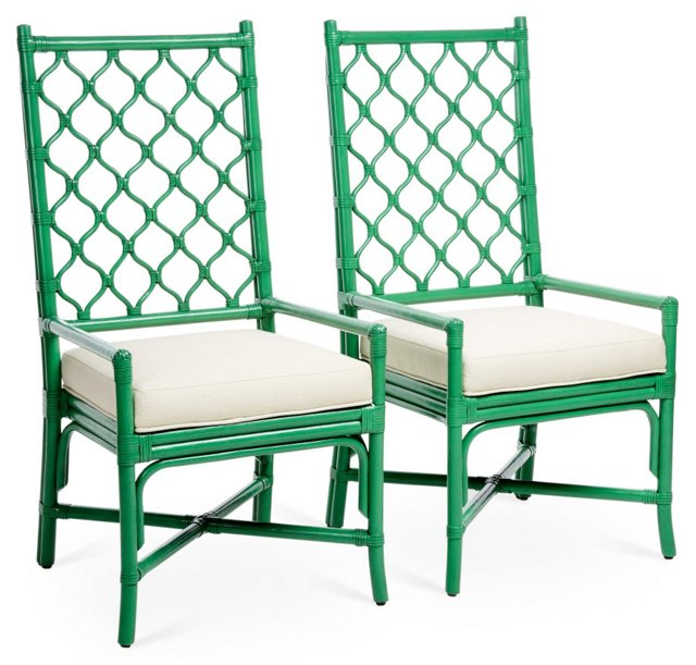 Harper Rattan Armchair, Parsley/Ivory