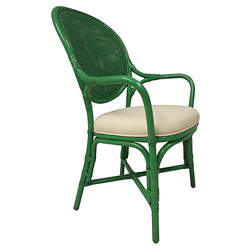 Isla Rattan Armchair, Parsley/Ivory