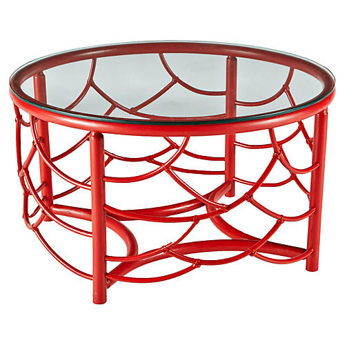 """Dorian 30"""" Round Coffee Table, Red"""