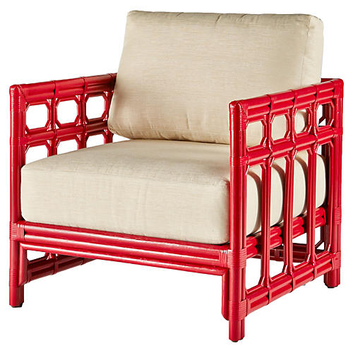 Regeant Lounge Chair, Antiqued Red