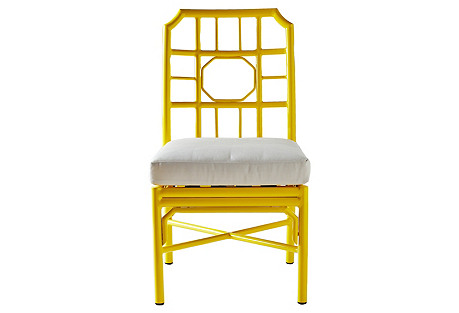 Milton Outdoor Side Chair, Yellow