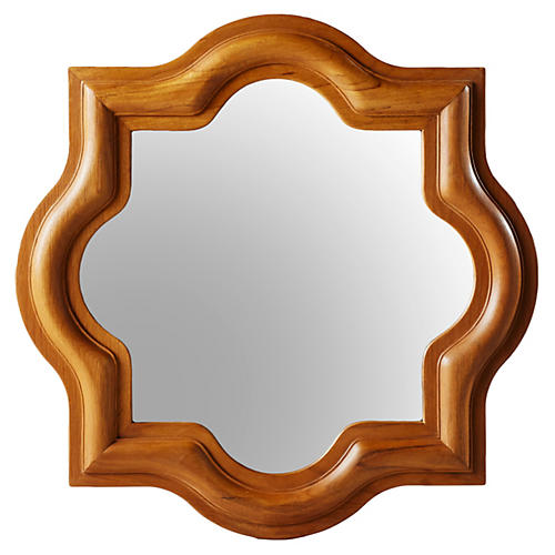 "Bowen 20"" Accent Mirror, Natural Teak"