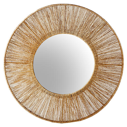 "36"" Jute Wire Mirror, Natural"