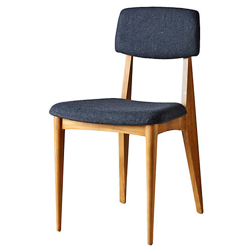 Derek Teak Side Chair, Charcoal