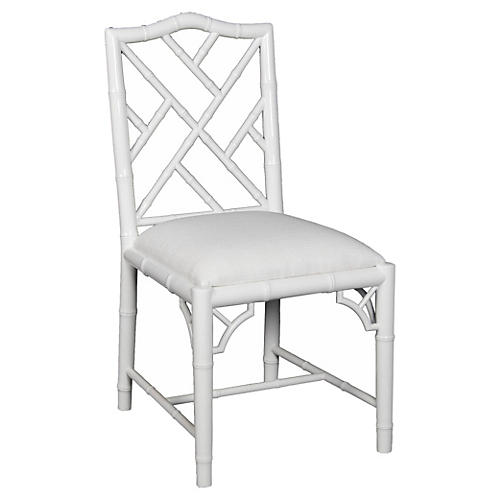 Simona Bamboo Side Chair, White